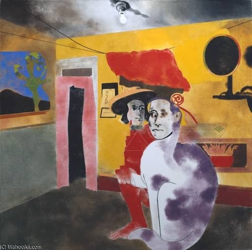 The Man Of The Woods And The Cat Of The Mountains by Ronald Brooks Kitaj (1932-2007, United States)