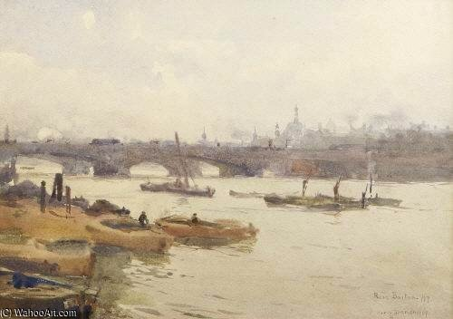 Barges On The Thames by Rose Maynard Barton (1856-1930, Ireland)