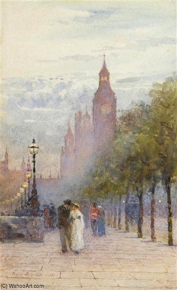 Houses Of Parliament And Westminster by Rose Maynard Barton (1856-1930, Ireland) | Oil Painting | WahooArt.com