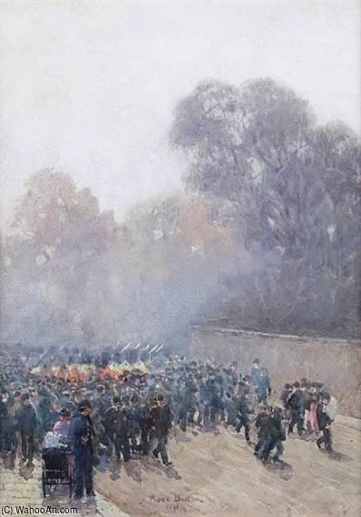 Marching Band And Crowd by Rose Maynard Barton (1856-1930, Ireland)