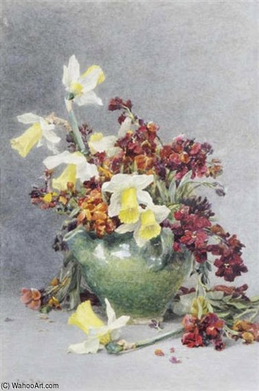 Still Life With Daffodils And Wallflowers by Rose Maynard Barton (1856-1930, Ireland)