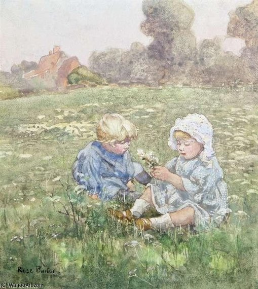 Two Children In A Pasture by Rose Maynard Barton (1856-1930, Ireland) | Painting Copy | WahooArt.com