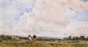 Thomas Collier - A Moorland Landscape With Two Figures By A Track