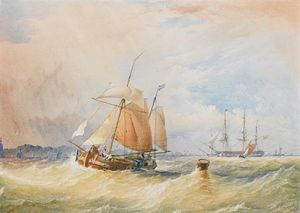 Thomas Sewell Robins - A Dutch Hoy Running Inshore With Frigates Anchored In The Roadstead Beyond
