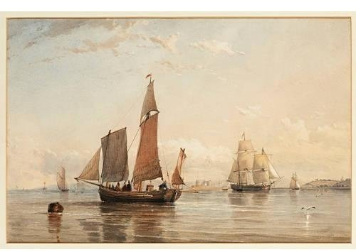 A French Egg Boat Entering Southampton Water by Thomas Sewell Robins (1810-1880, United Kingdom) | Famous Paintings Reproductions | WahooArt.com