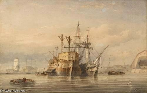 A Frigate Refitting Alongside A Hulk In Devonport by Thomas Sewell Robins (1810-1880, United Kingdom) | Museum Quality Reproductions | WahooArt.com