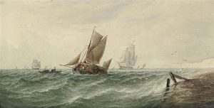 Thomas Sewell Robins - A Loaded Hay Barge And Other Shipping In Choppy Waters Off The White Cliffs Of Dover