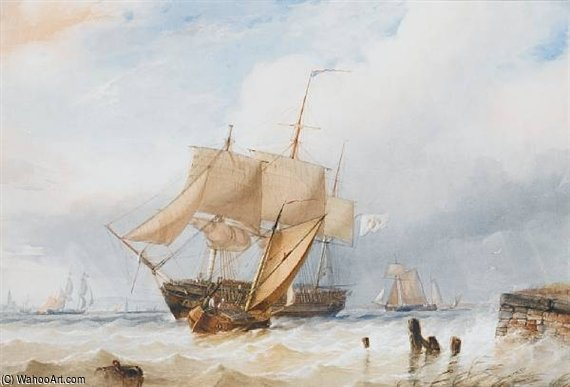 A Prussian Merchantman Coming To Anchor Off The Low Countries by Thomas Sewell Robins (1810-1880, United Kingdom)