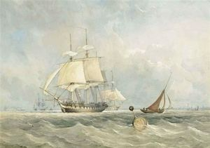 Thomas Sewell Robins - A Royal Navy Frigate Preparing To Get Underway From Her Anchorage At Spithead