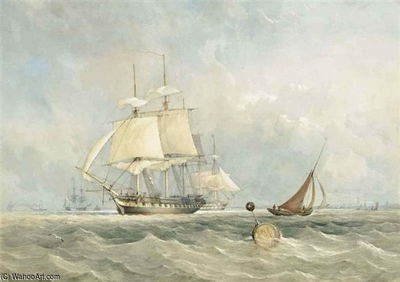 A Royal Navy Frigate Preparing To Get Underway From Her Anchorage At Spithead by Thomas Sewell Robins (1810-1880, United Kingdom)