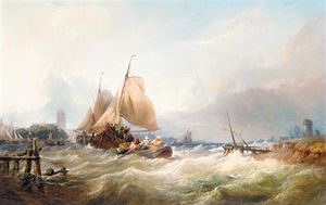 Thomas Sewell Robins - Bringing In The Lobster Pots In Heavy Seas
