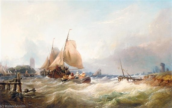 Bringing In The Lobster Pots In Heavy Seas by Thomas Sewell Robins (1810-1880, United Kingdom) | Art Reproduction | WahooArt.com