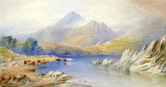 Cattle Watering At A Lake Before A Mountain Landscape by Thomas Sewell Robins (1810-1880, United Kingdom) | Painting Copy | WahooArt.com