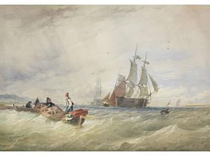 Thomas Sewell Robins - Fishermen Offshore Laying Their Nets