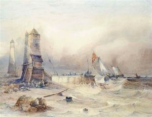 Thomas Sewell Robins - Fishermen On A Breakwater Before A Lighthouse With Boats Heading Out To The Fishing Grounds