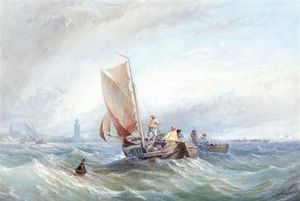 Thomas Sewell Robins - Fishing Boats In Choppy Seas Off The Coast