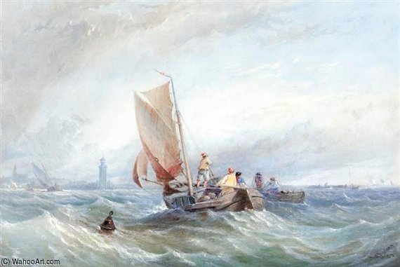 Fishing Boats In Choppy Seas Off The Coast by Thomas Sewell Robins (1810-1880, United Kingdom) | Famous Paintings Reproductions | WahooArt.com