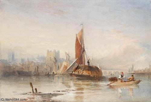 Haybarges On The Medway by Thomas Sewell Robins (1810-1880, United Kingdom) | Museum Quality Reproductions | WahooArt.com