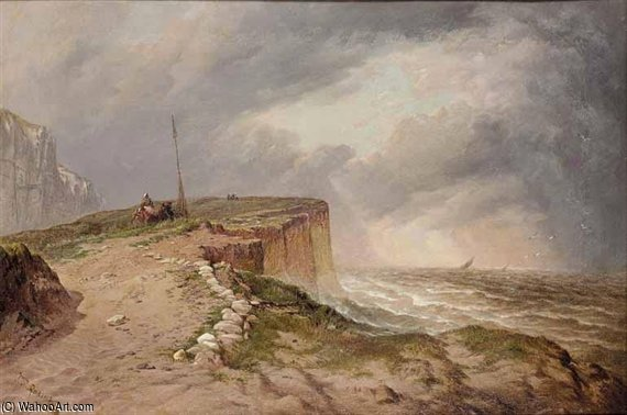 On The Cliffs In Stormy Weather by Thomas Sewell Robins (1810-1880, United Kingdom)