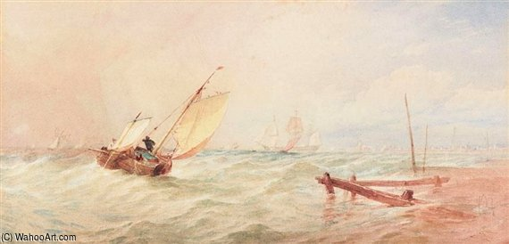Sea Reach by Thomas Sewell Robins (1810-1880, United Kingdom)