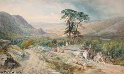 View Of Llanrwst From Bettws-y-coed by Thomas Sewell Robins (1810-1880, United Kingdom) | Painting Copy | WahooArt.com