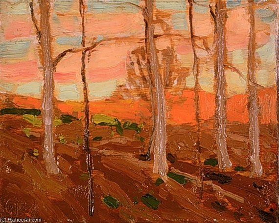 Trees, Red Hill, And Sunset Sky by Thomas Thompson (1877-1917, Canada)