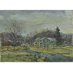 Walter Emerson Baum - Houses & Stream In Fall
