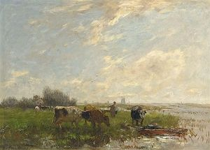 Willem Maris - A Summer Landscape With Cattle And Windmills