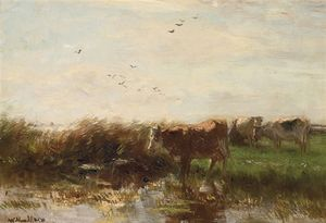 Willem Maris - Cows Grazing On The Waterfront