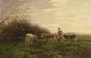 Willem Maris - Tending The Cows