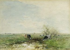 Willem Maris - Watering Cows In A Polder Landscape