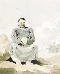 William Bill Alexander - A Chinese Man Smoking A Pipe