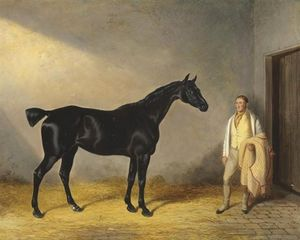 William Barraud - A Dark Bay Hunter With A Groom In A Stable