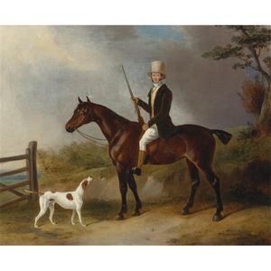 William Barraud - A Gentleman With His Hunter And Pointer