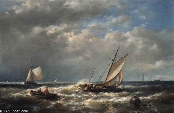 A Breezy Day At The Mouth Of The Scheldt by Abraham Hulk Senior (1813-1897, Netherlands)