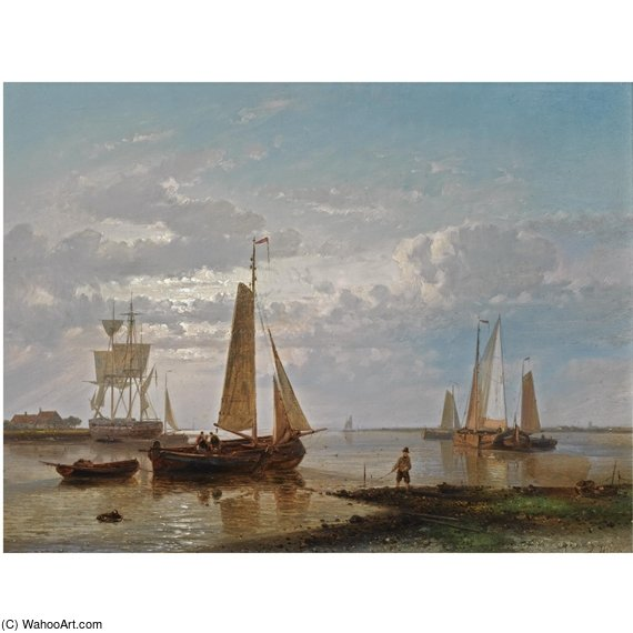 A Coastal Scene by Abraham Hulk Senior (1813-1897, Netherlands) | Art Reproduction | WahooArt.com