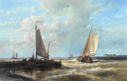 A Dutch Barge Heading Out Of Harbour On The Tide by Abraham Hulk Senior (1813-1897, Netherlands)