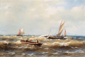 Abraham Hulk Senior - A Rowing Boat And Ships In Choppy Waters