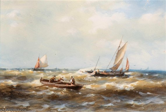 A Rowing Boat And Ships In Choppy Waters by Abraham Hulk Senior (1813-1897, Netherlands) | Famous Paintings Reproductions | WahooArt.com