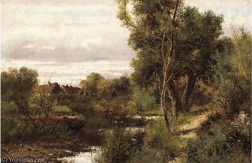 A Stream In A Wooded Landscape by Abraham Hulk Senior (1813-1897, Netherlands) | Oil Painting | WahooArt.com