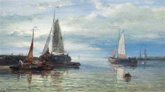An Evening Calm On The Scheldt by Abraham Hulk Senior (1813-1897, Netherlands) | Art Reproduction | WahooArt.com