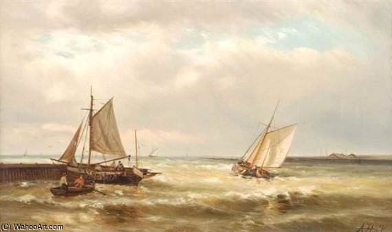 Boats At The Harbour Mouth by Abraham Hulk Senior (1813-1897, Netherlands) | Museum Quality Reproductions | WahooArt.com