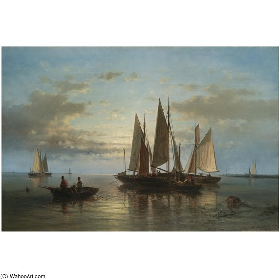 Boats Clustered By The Shore by Abraham Hulk Senior (1813-1897, Netherlands)