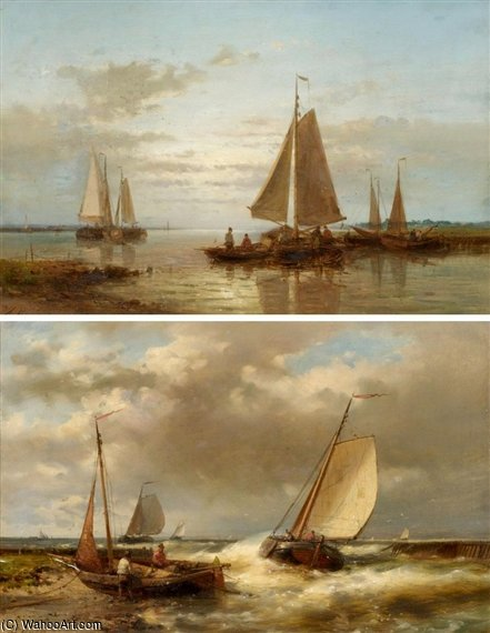 Boats In A Swell by Abraham Hulk Senior (1813-1897, Netherlands) | Oil Painting | WahooArt.com