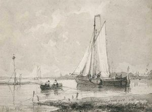 Abraham Hulk Senior - Boats In An Estuary
