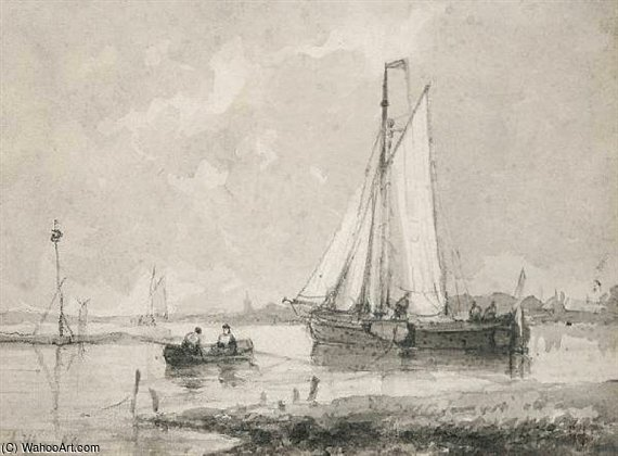 Boats In An Estuary by Abraham Hulk Senior (1813-1897, Netherlands)