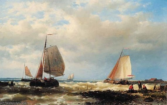 Boats Off The Shore by Abraham Hulk Senior (1813-1897, Netherlands)