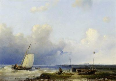 Brewing Storm On The Dutch Coast by Abraham Hulk Senior (1813-1897, Netherlands) | Oil Painting | WahooArt.com