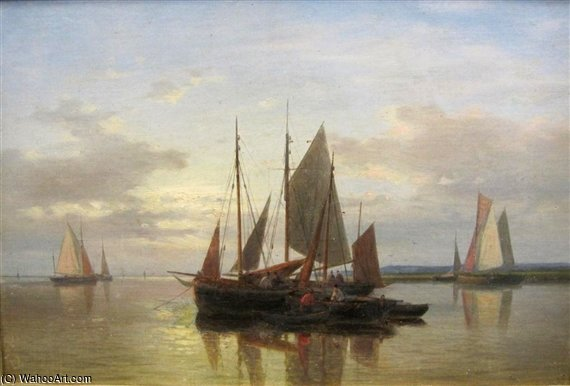 Calm On An Estuary by Abraham Hulk Senior (1813-1897, Netherlands) | Famous Paintings Reproductions | WahooArt.com