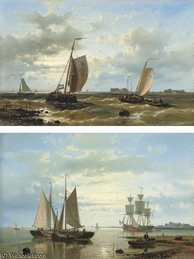 Choppy Waters In The Estuary by Abraham Hulk Senior (1813-1897, Netherlands) | Art Reproduction | WahooArt.com